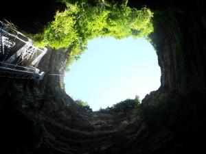 Uitzicht vanaf de bodem van Gouffre de Padirac